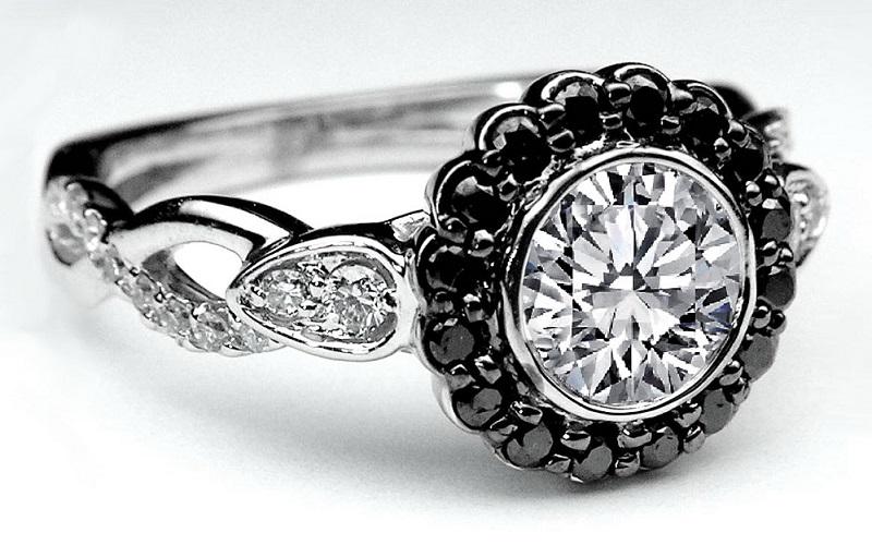 black and diamond engagement ring