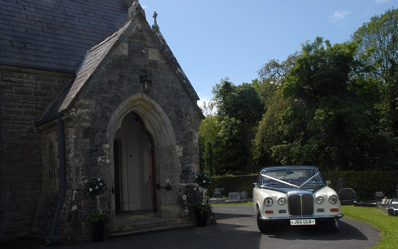 church and wedding car