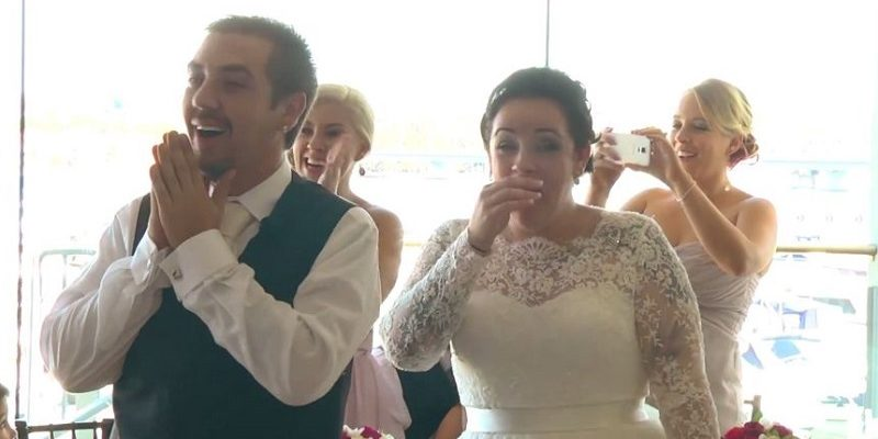bride and groom reaction to ed sheeran surprise
