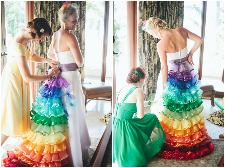 Colourful rainbow wedding inspiration haircrazy rainbow themed beach wedding boho weddings junglespirit