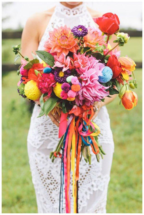 Rainbow wedding ideas - flowers Buffaloindieweddings.com