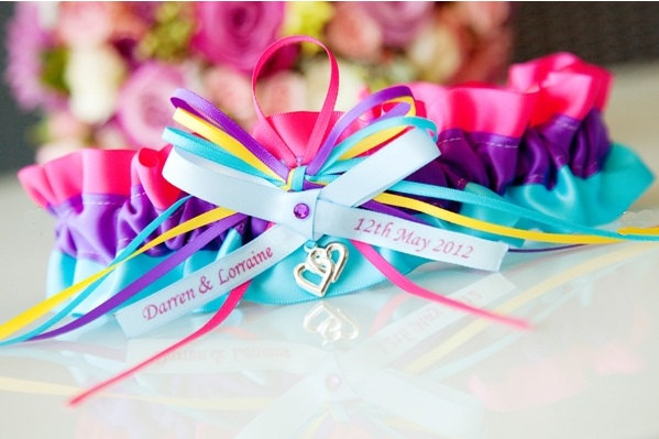 Rainbow wedding ideas garter - Etsy.com