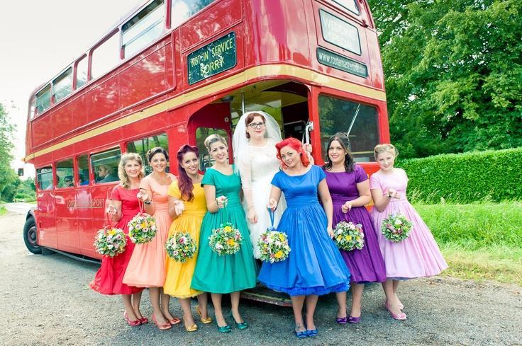 rainbow-themed-wedding-inspiration bridesmaids Weddbook.com
