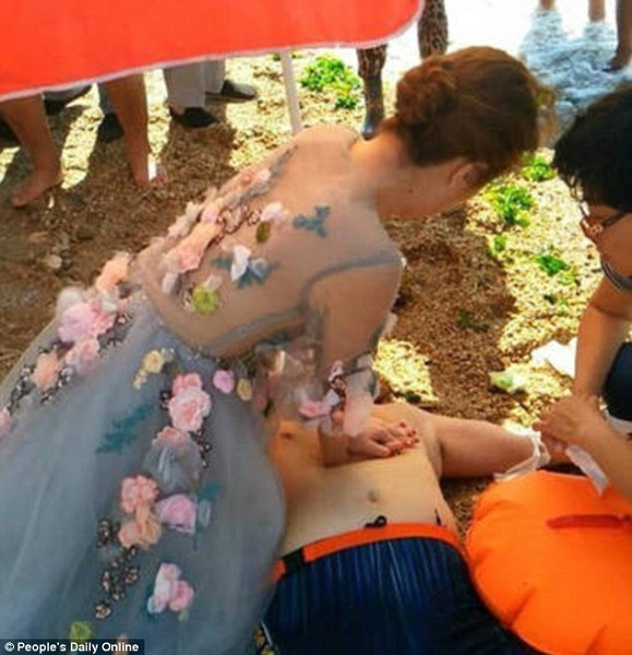 A bride tries to save man's life on her wedding day