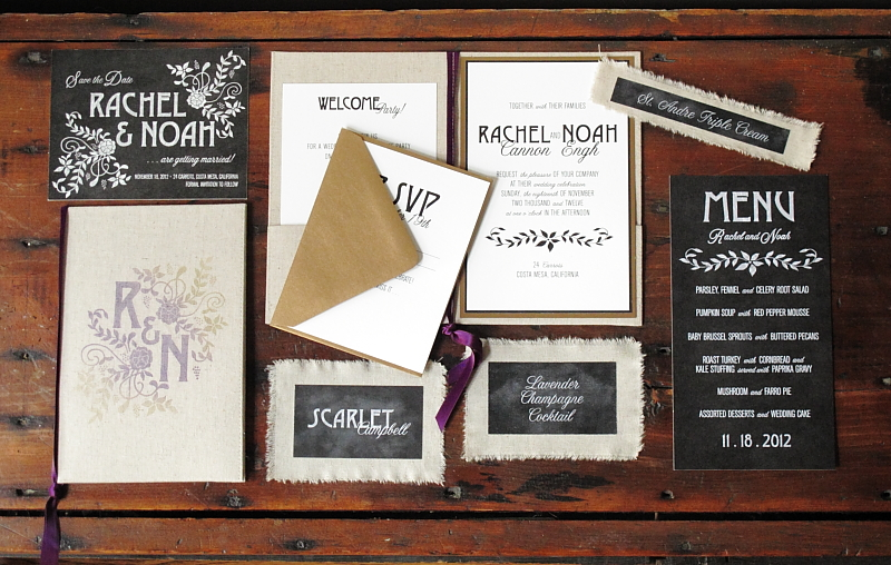 Chalkboard wedding invitations - ohsobeautifulpaper.com
