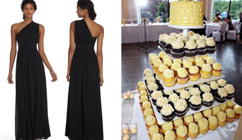 bridesmaid dress and cake collage