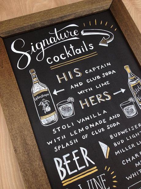 chalkboard bar signage - brides.com