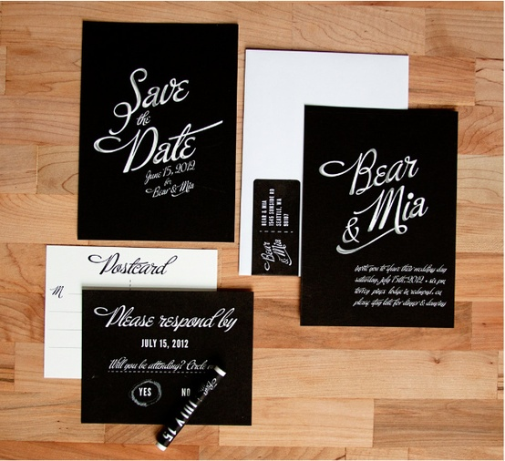 chalkboard wedding stationery - wedding.allwomenstalk.com