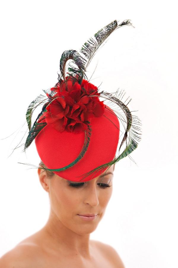 Red peacock hat, €265, Suzie Mahony Designs