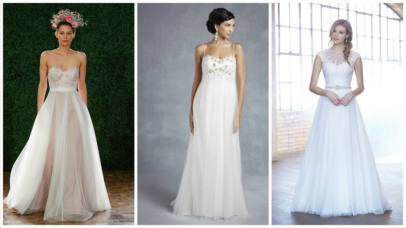 Tulle wedding dresses - empire line