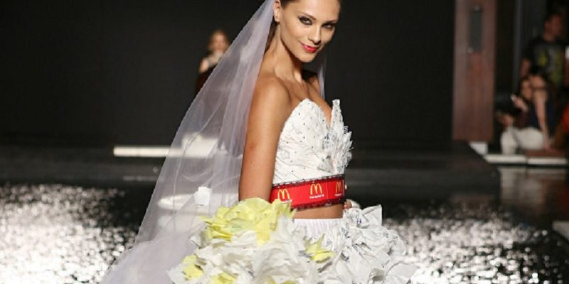 The recycled wedding dress made from McDonald's wrappers