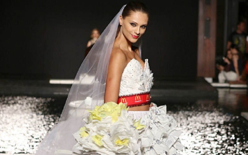 The recycled wedding dress made from McDonald\'s wrappers