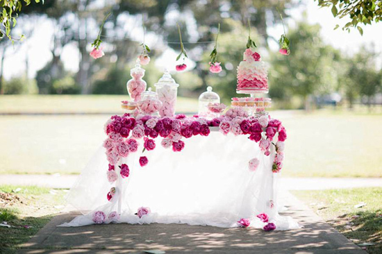 Pink peony dessert table. Invitationstyles.com