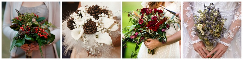 woodland wedding flower collage]