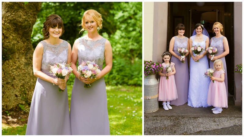 Bridesmaids' dresses The bridesmaids wore lilac Victorian dresses by Jordan from Naomi Bridal, and the flower girls wore pink dresses from Debenhams. Ballynahinch. Tresses, Saintfield did the hair and Leigh Crawford was responsible for the makeup.