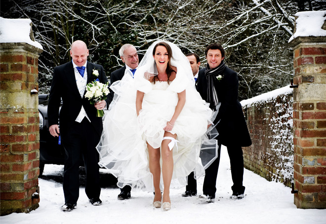 weddding day fails snow
