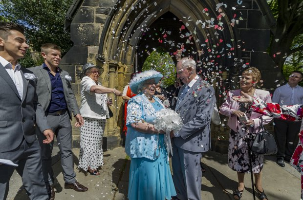 elderly couple marry