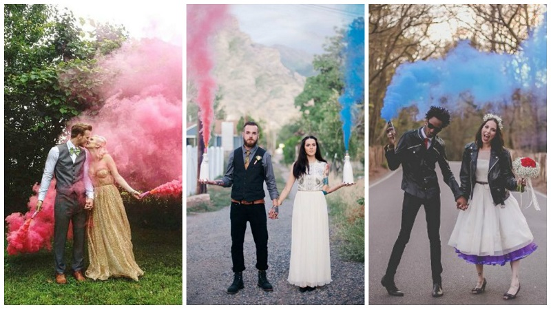 Smoke bomb wedding photos 2
