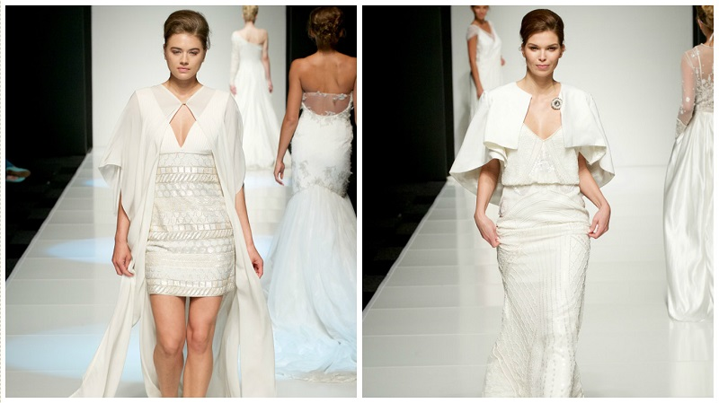 white gallery wedding dress trends - capes