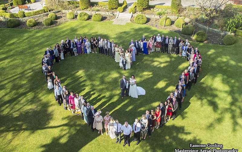 aerial wedding picture