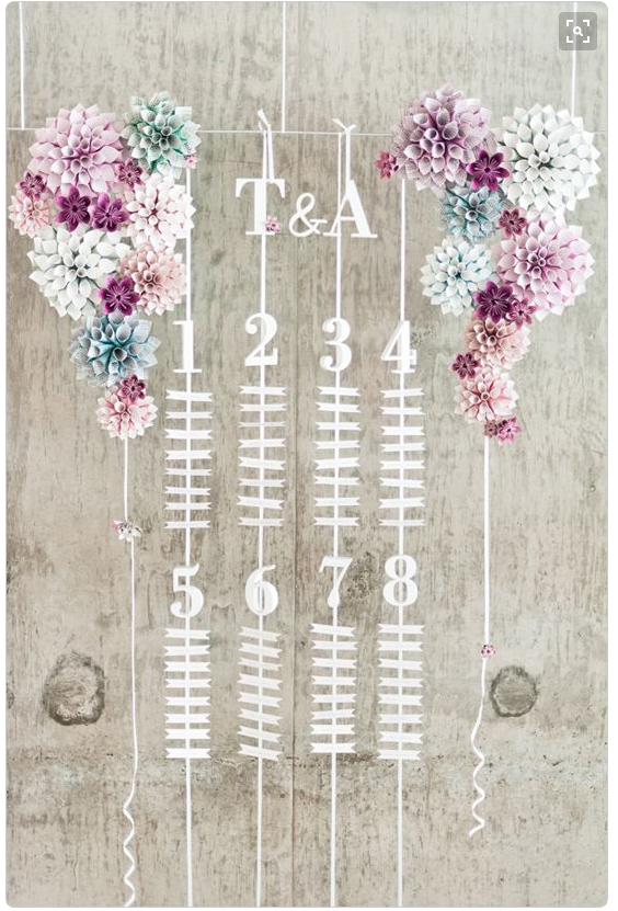 Ribbon table plan from Wedding Chicks