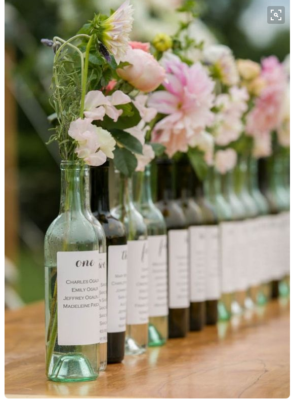 17 creative wedding table plan ideas from pinterest for Wedding table decorations with wine bottles