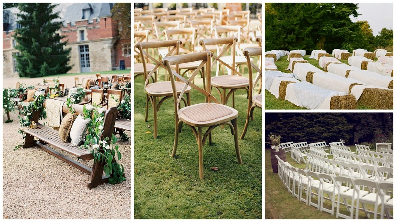 outdoor wedding styling - seating