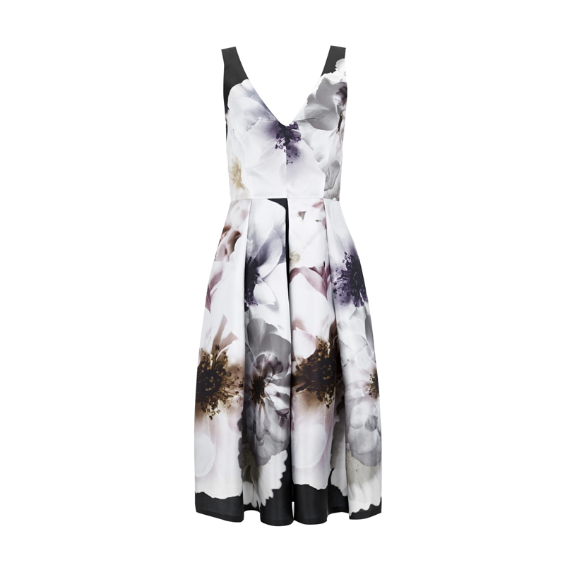 Black Floral Skater Dress, Wallis