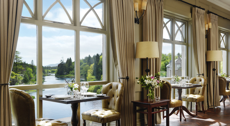 Ballynahinch Castle S Handsome And Atmospheric Owenmore Restaurant With Its Floor To Ceiling Windows Overlooking A Picturesque Bend In The River Below