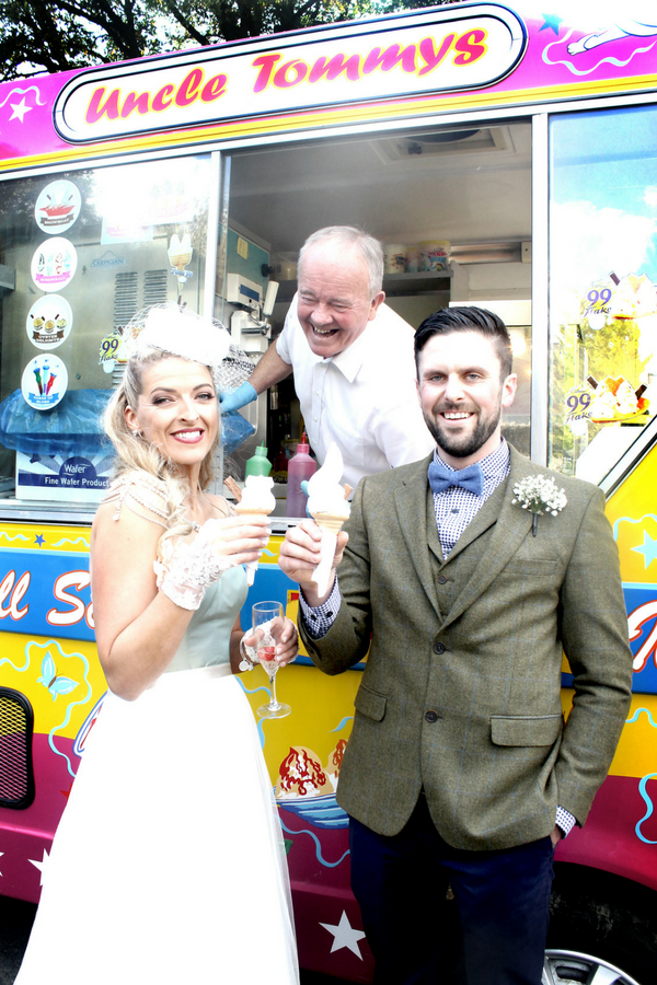bride and groom ice cream van