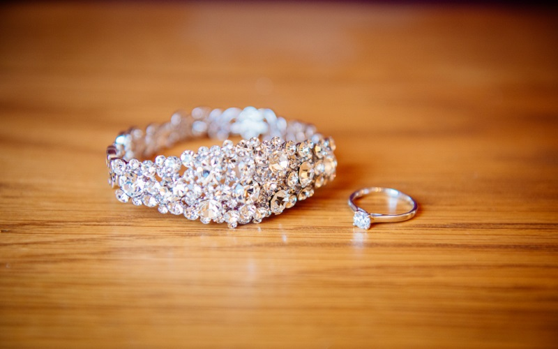 bracelet and engagement ring