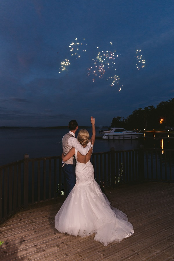 bride and groom fireworkd