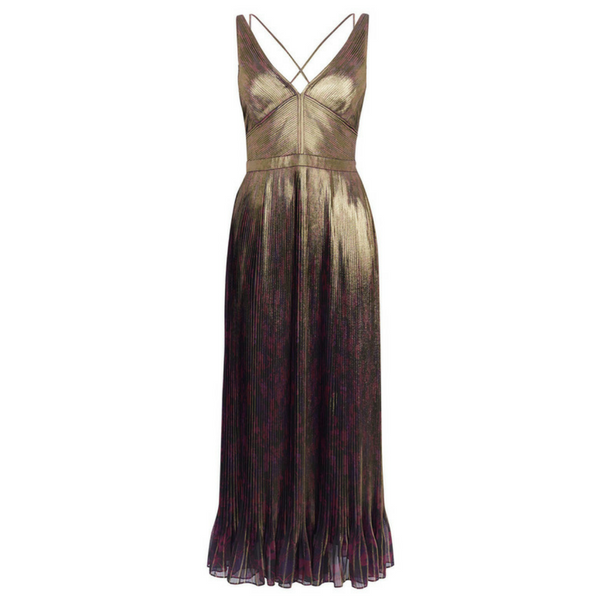 Metallic Pleated Maxi Dress, £350, Karen Millen