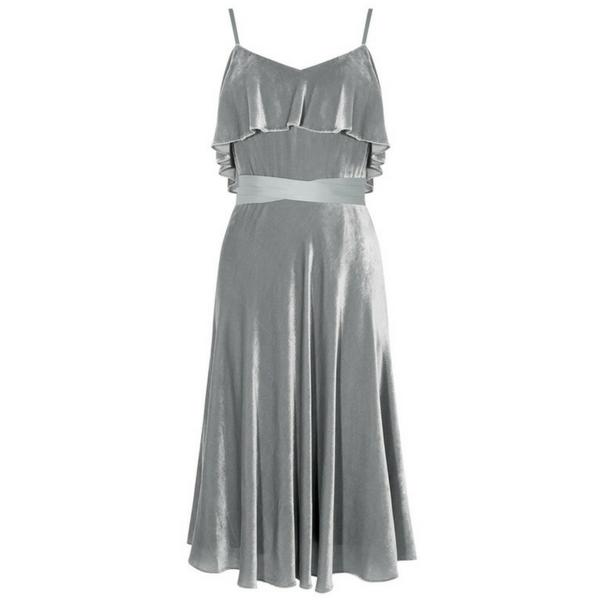 Silk Velvet frill dress, £299, Karen Millen