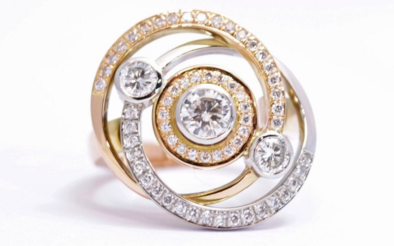 white gold and yellow gold engagement ring
