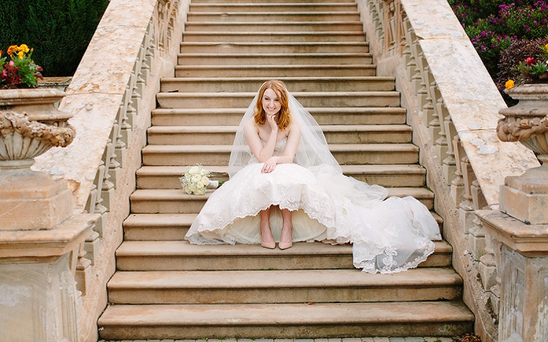 bride on steps
