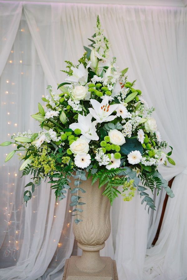 floral arrangement at wedding
