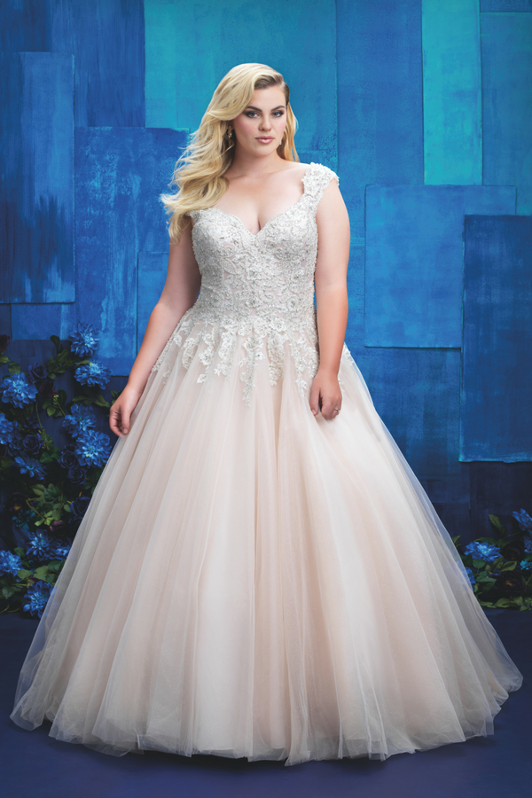 plus size wedding dress with sweetheart neckline