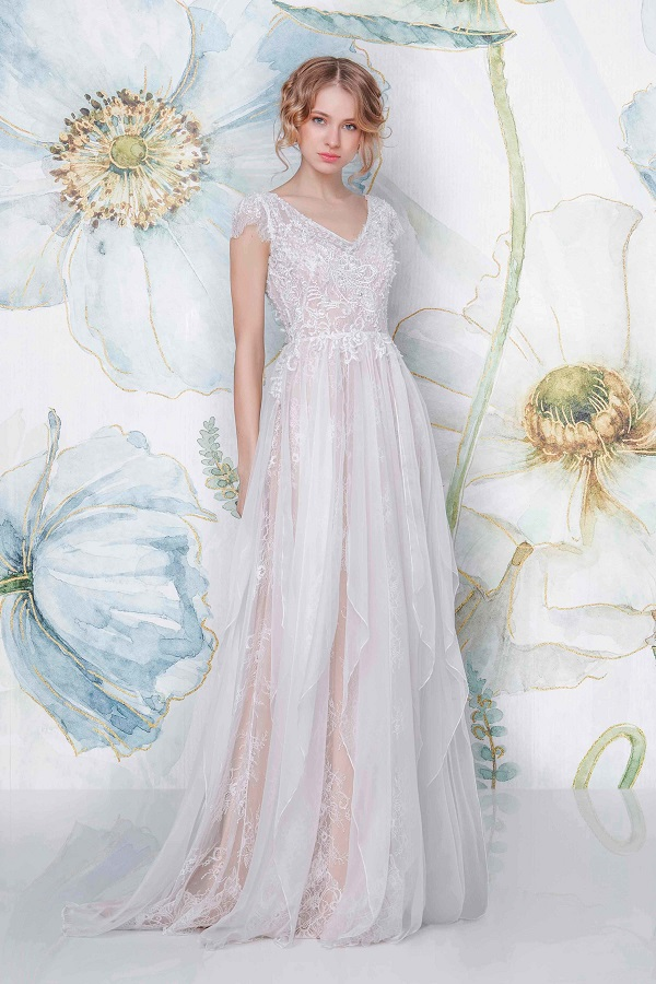 pink boho bridal dress