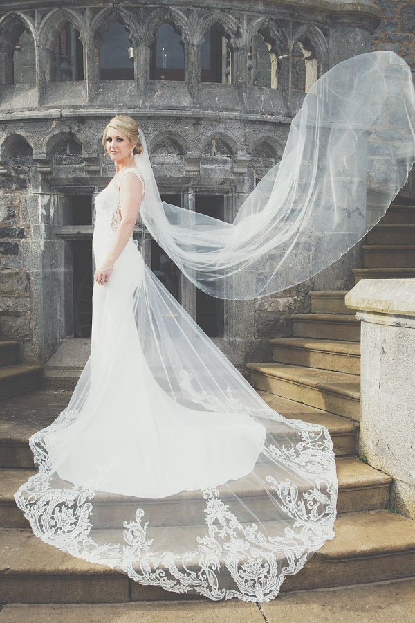 bride with veil in the wind at Markree Castle