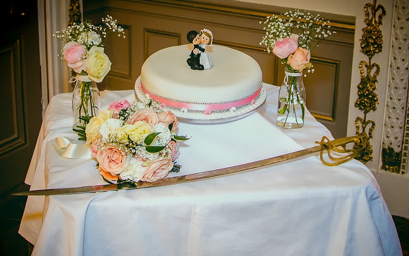 wedding cake with sword at markree castle