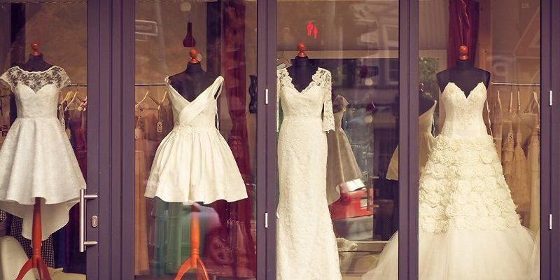 dresses in window