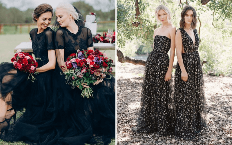 Halloween-Inspired-Wedding-Bridesmaids-Dress